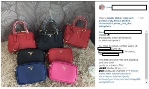 An Instagram advertisement for counterfeit handbags