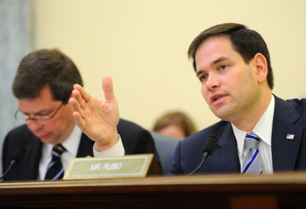 Sen. Marco Rubio, right, speaks during a hearing in Washington, D.C, April 23, 2013. Source: Wikimedia Commons Author: Petty Officer 2nd Class Patrick Kelley