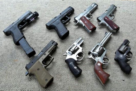 Wikipedia photo: Clockwise starting at topleft:  Glock G22, Glock G21, Kimber Custom Raptor, Dan Wesson Commander, Smith & Wesson Air Weight .357, Ruger Blackhawk .357, Ruger SP101, Sig Sauer P220 Combat.