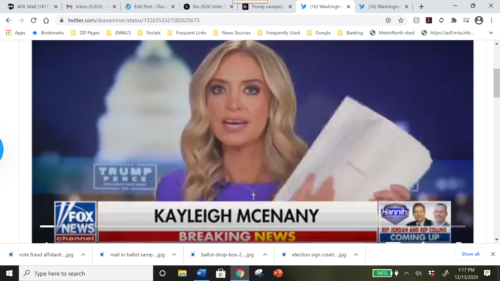 White House Press Secretary Kayleigh McEnany appearing on Fox News/Hannity program displaying what she said were more than 230 citizen-eyewitness complaints of voter fraud.